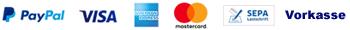 Einkaufen und einfach bezahlen per  Vorkasse  und Paypal Plus inkl Visa, American Expres, Mastercard  und Lastschrift.